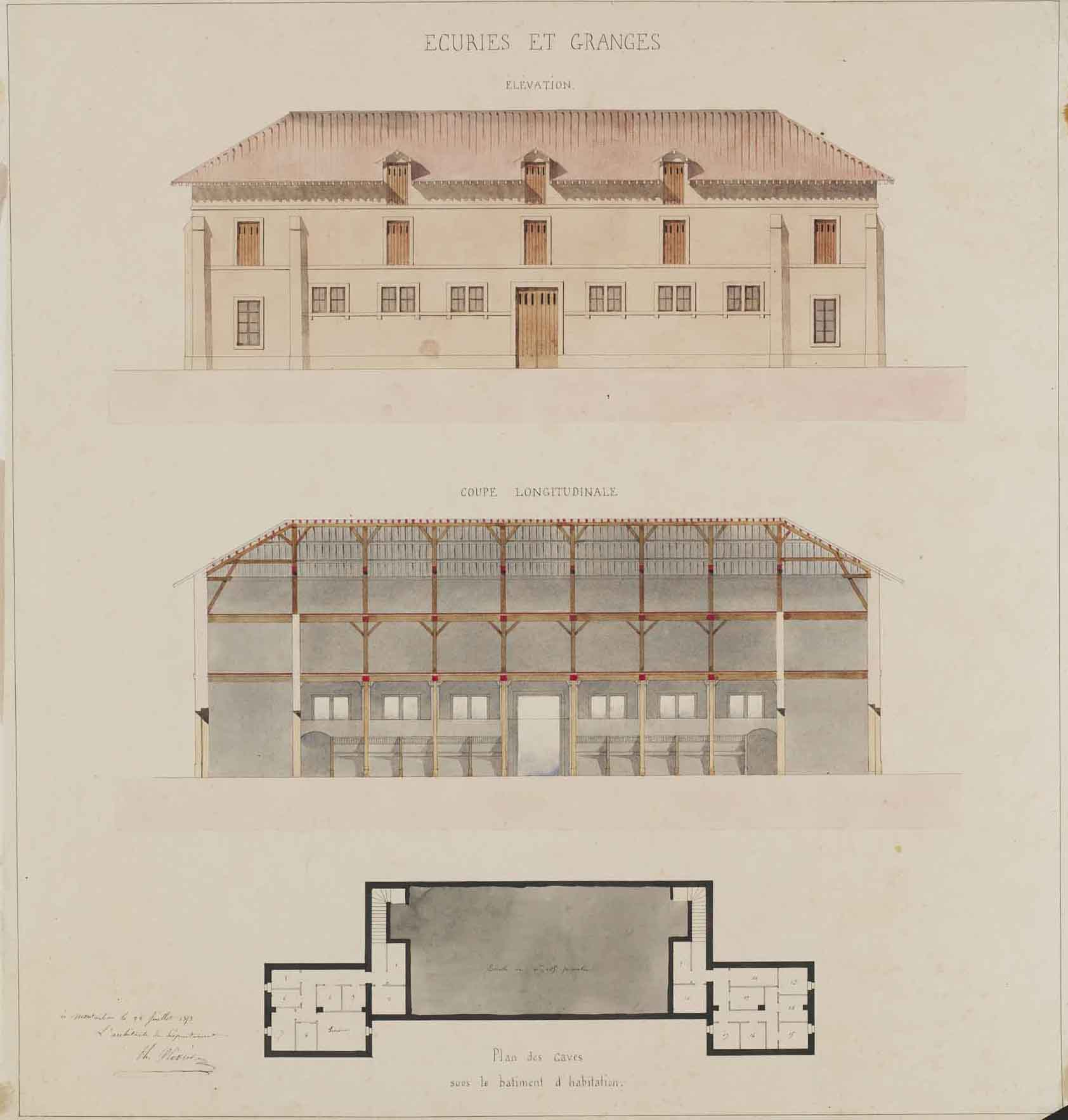 """Théodore Olivier (French, 1821-1899), Stables and Barns: elevation, cross-section and plan,  1853, pencil and watercolor on paper, 34 1/4 x 32 1/4"""" framed"""