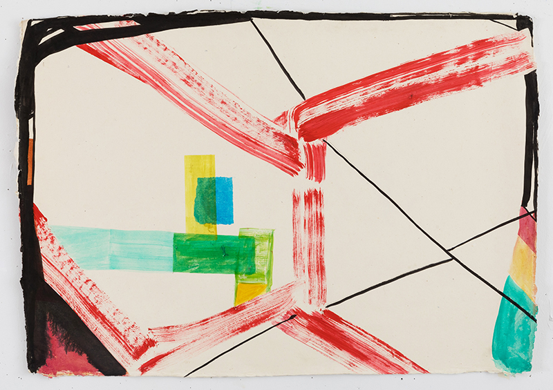 "Laura Newman, Rome Studio , 2017, acrylic, ink and flashe on handmade wasli paper, 22 x 30"""