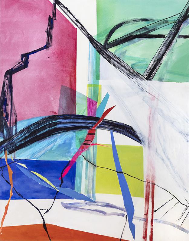 "Laura Newman, Veil,  2018, oil, acrylic and ink on canvas, 72 x 56"""