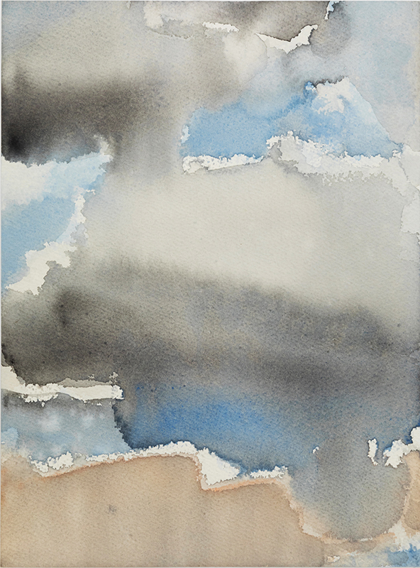 "Jacqueline Gourevitch,  Clouds, 8.2015,  watercolor on paper, 12 x 9"", 19 5/8 x 16"" framed"