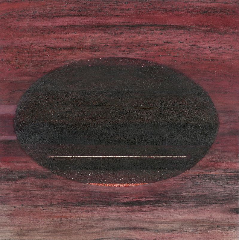 Pat Adams,  Drawn , 1997, oil, isobutyl methacrylate and sand on linen, 39 x 39""