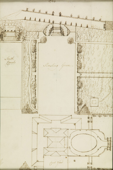 """British, 18th century,  Garden Plan with Bowling Green and Canal,  1763, ink on paper, 16 x 10 1/2"""""""