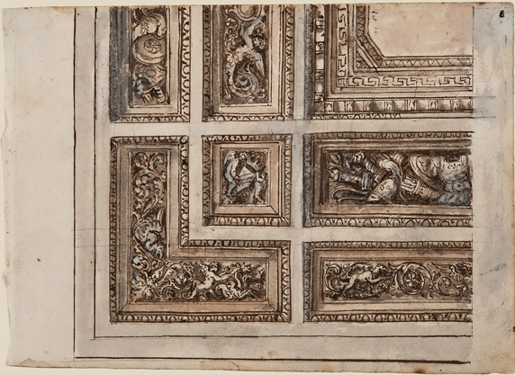 """Italian, Architectural Detail 1436, c. 1800, ink, lavis (wash) and gouache on paper, 6 x 8 1/4"""""""