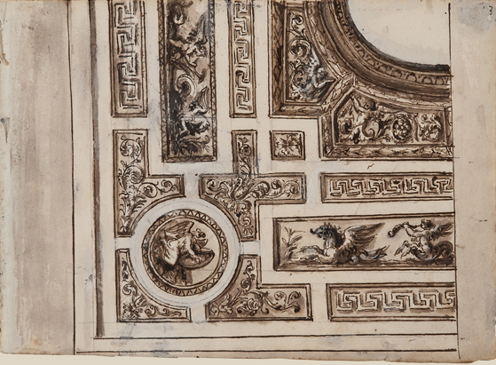 """Italian, Architectural Detail 1439, c. 1800, ink, lavis (wash) and gouache on paper, 6 x 8 1/4"""""""