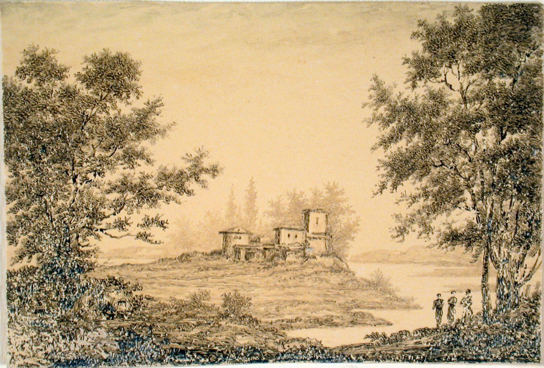 "Landscape , c. 1800, ink and brown wash on burnished paper, 2 7/8 x 4 1/4"""
