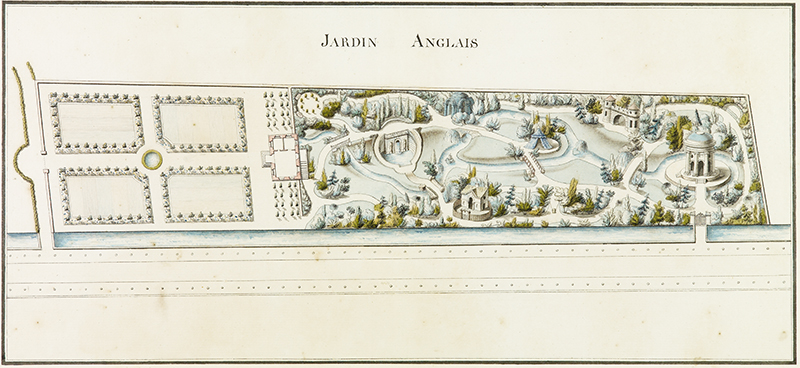 """French, 18th century,  Jardin Anglais: Project for an English Landscape Garden , c. 1785, pen and ink with watercolor on paper, 11 x 21 7/8"""""""