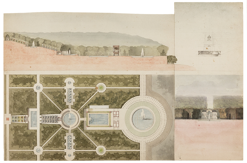 """Leon Dufourny (French, 1754-1818),  Plan for an Italianate Garden and Villa , late 18th century, watercolor on paper, two attached sheets: 10 1/2 (11 1/4) x 17 1/4"""""""