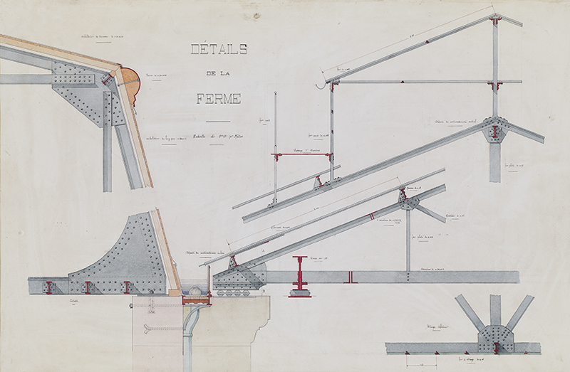"""Jules-Germain Olivier (French, 1869-1940),  Ironwork, Details of the Roof Truss , c. 1905, ink and watercolor on paper, 36 1/2 x 24 1/2"""""""