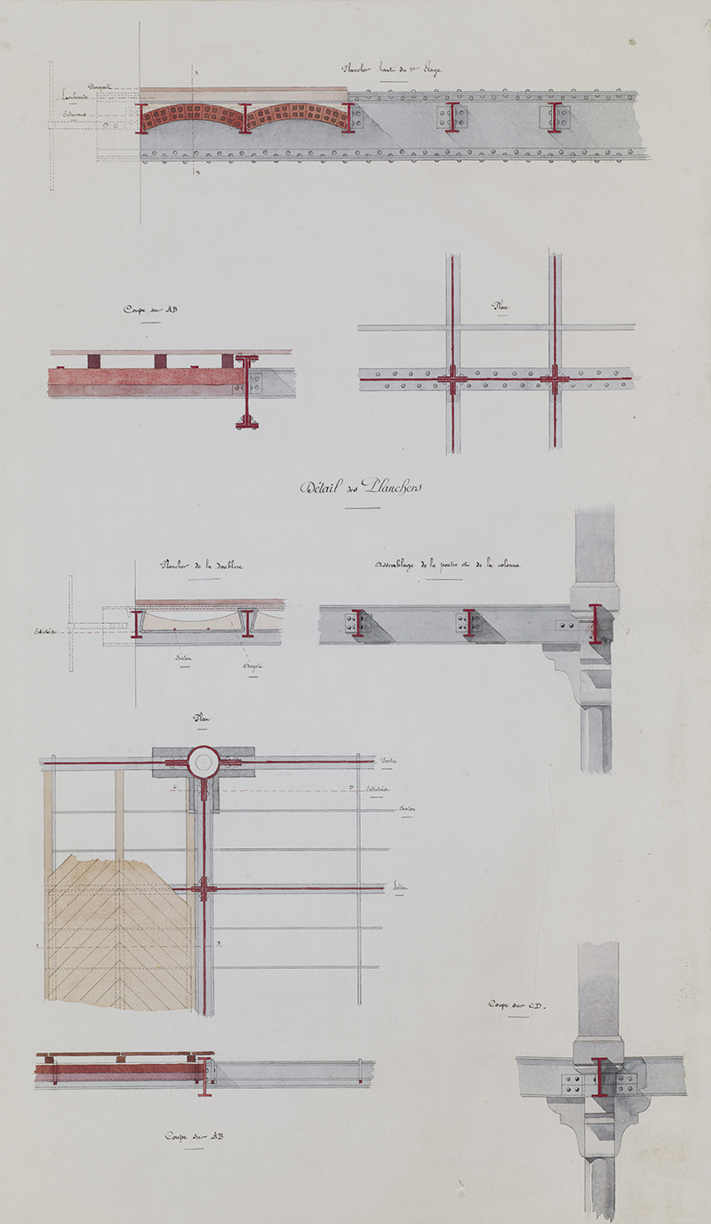 """Jules-Germain Olivier (French, 1869-1940),  Ironwork, Details of the Floors,  c. 1905, ink and watercolor on paper, 32 5/8 x 19"""""""