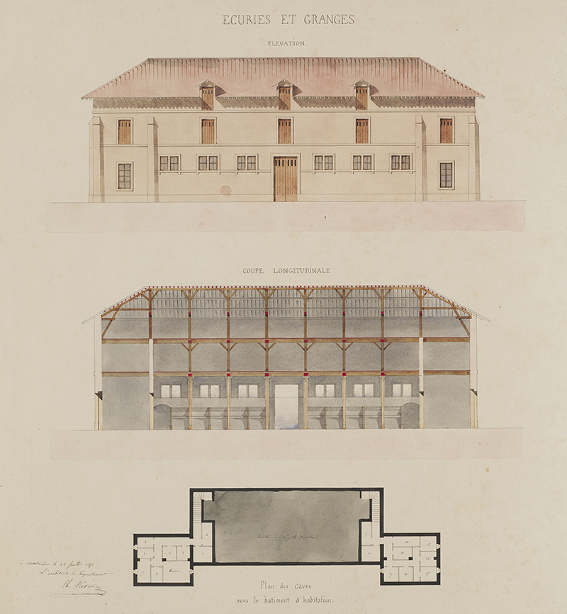 """Théodore Olivier (French, 1821-1899),  Stables and Barns: elevation, cross-section and plan , 1853, pencil, watercolor on paper, 23 7/8 x 22 3/4"""""""