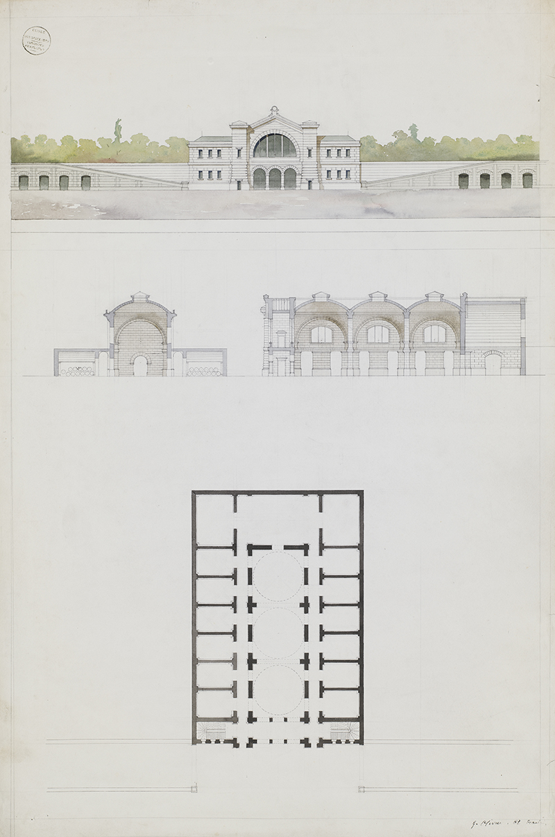 """Jules-Germain Olivier (French, 1869-1940),  A winery: elevation, cross section and floor plan , c. 1890, watercolor on paper, 38 3/4 x 25 3/4"""""""