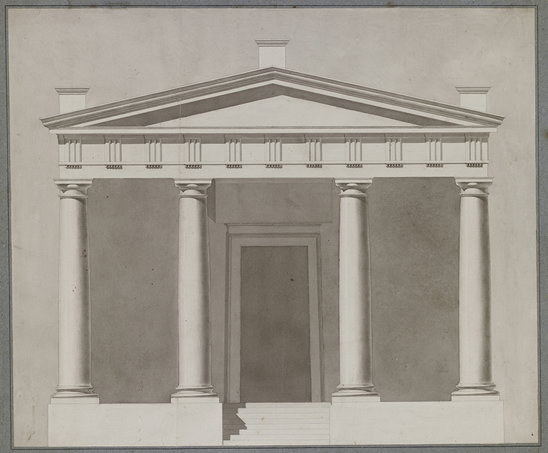 """Théodore Olivier (French, 1821-1899),  Study of a Temple Facade , c. 1840, ink and lavis (wash) on paper, 21 1/4 x 25 3/8"""""""