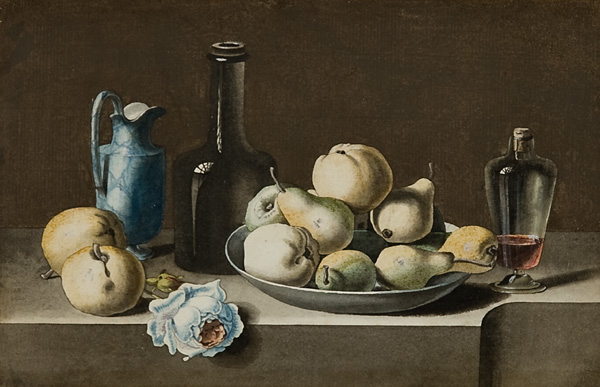 French Still Life Drawings: J.J. Prin, French, 19th c.,  Still Life with Pears and Apples