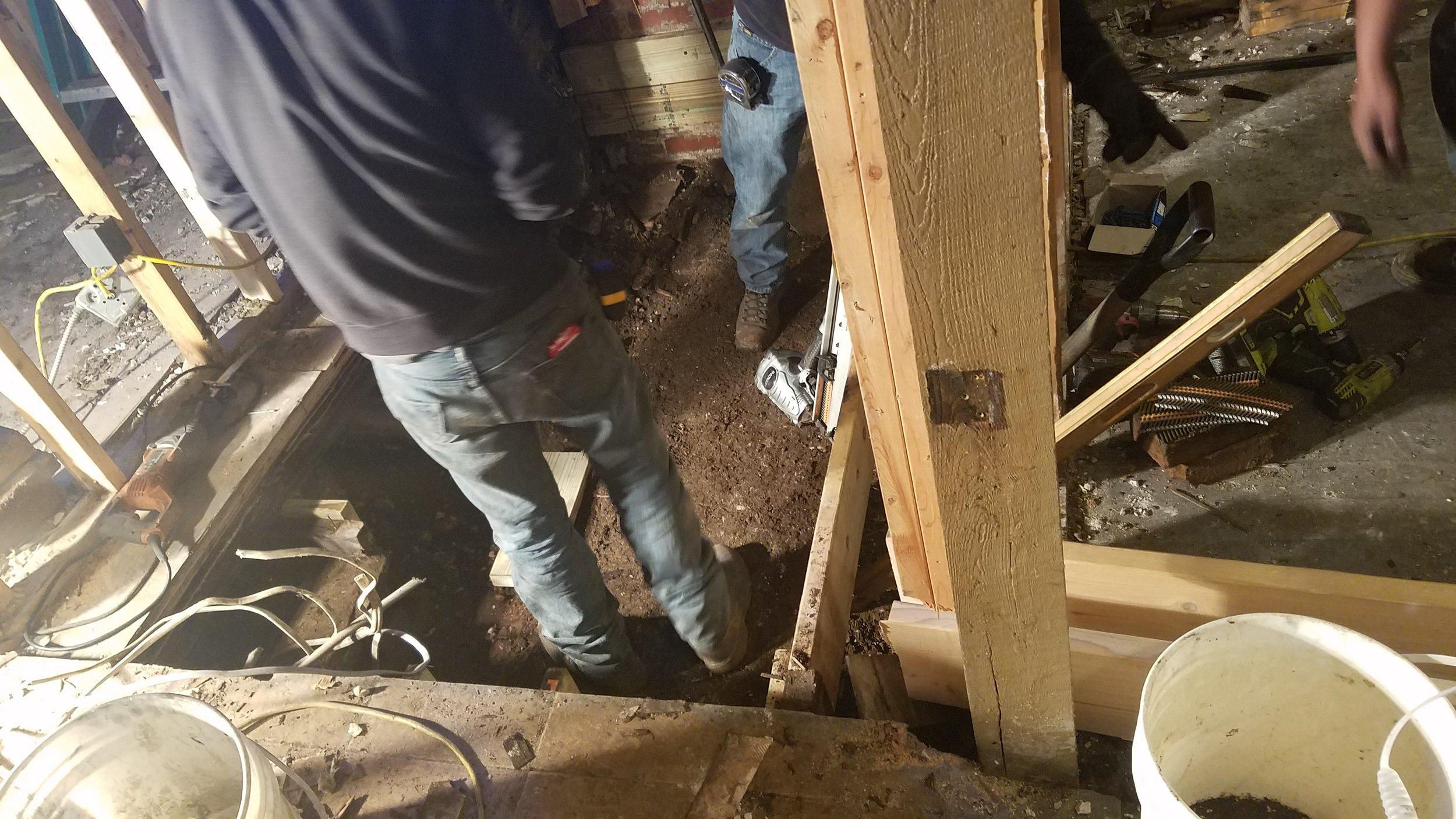 Installing new plumbing and floor trusses!