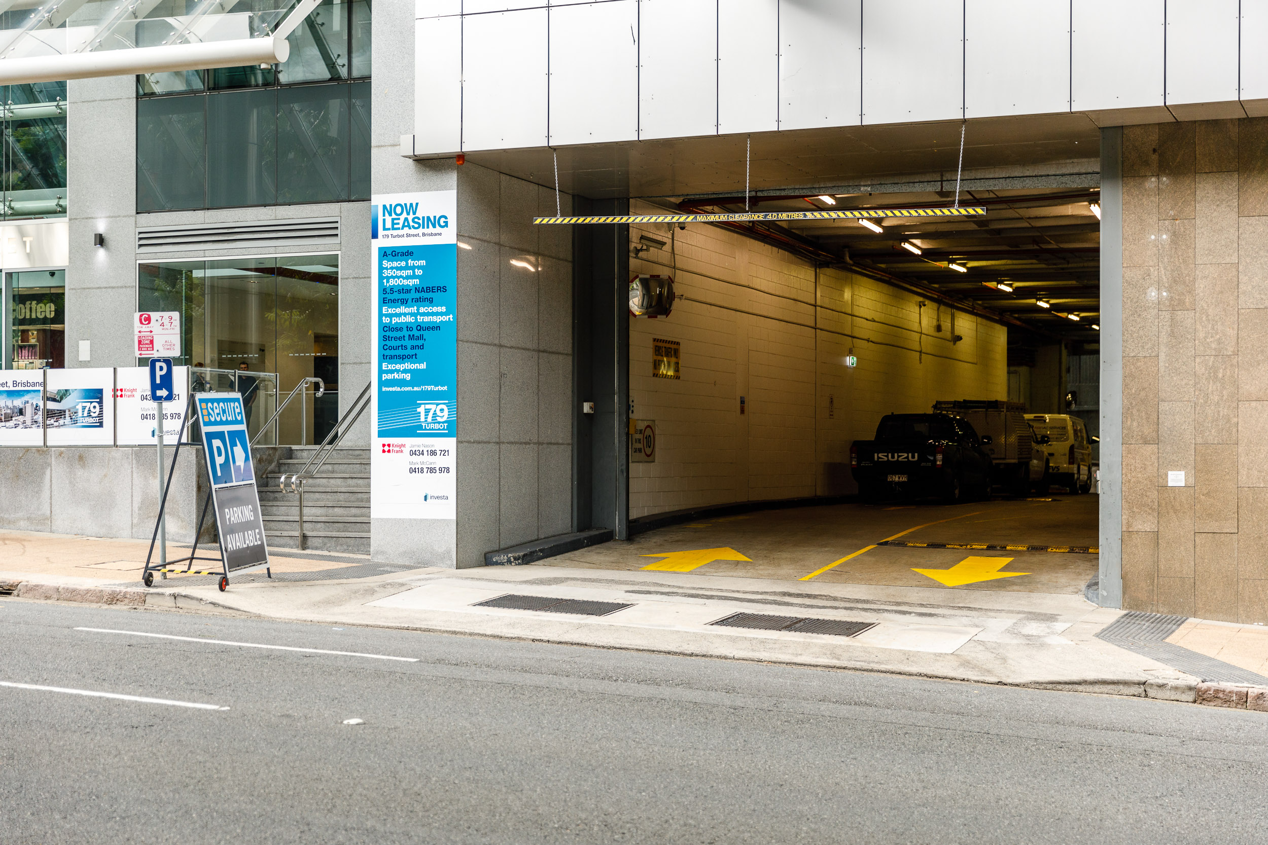 Secure Parking (Paid Car Parking) located at 179 Turbot Street. The most expensive but right next door. Enter from the far right hand lane of Turbot Street before the registry. Photo by Chris Jack.