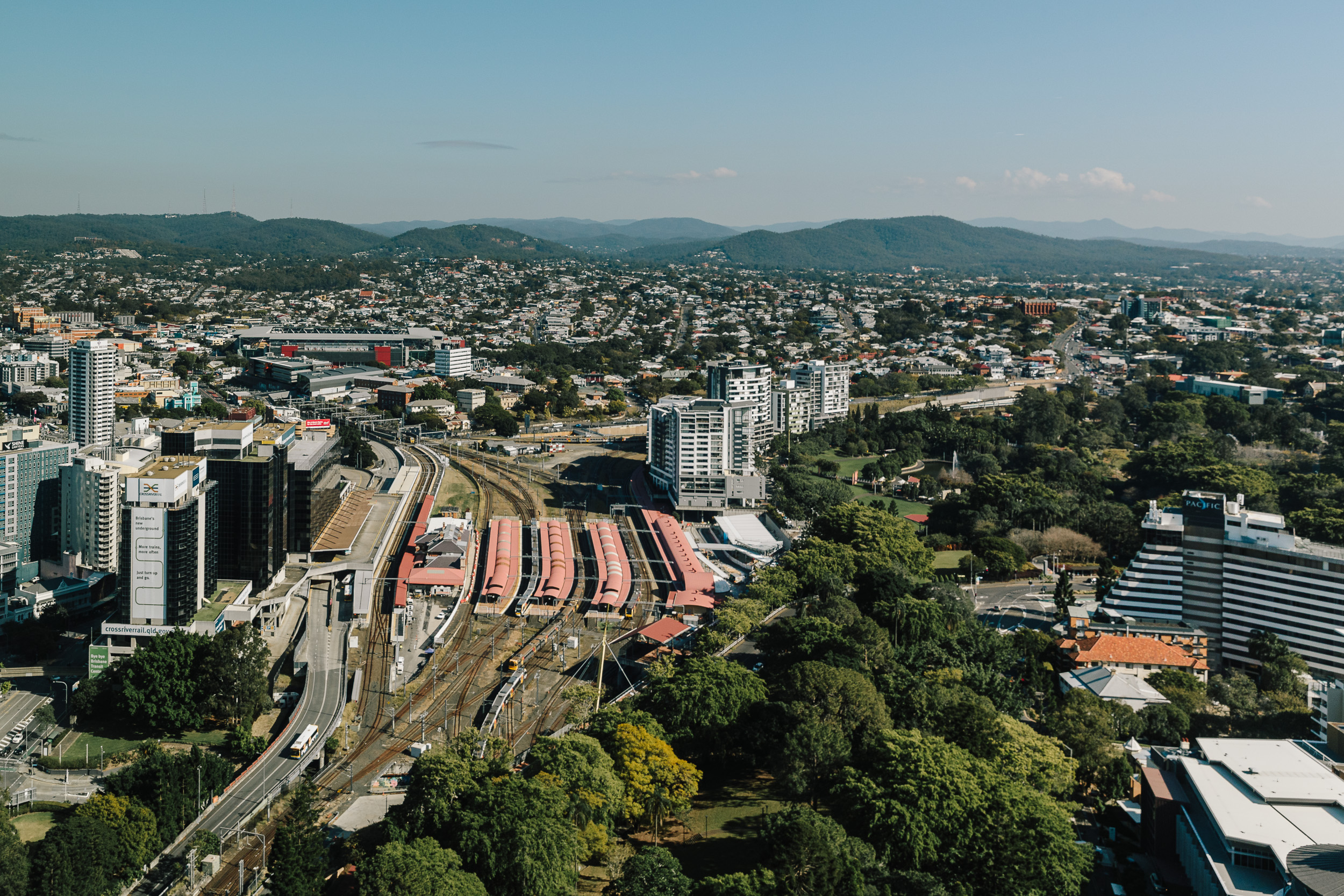 Views from Level 32 Foyer across Roma Street Station & Parklands. Photo by Chris Jack August 2019.
