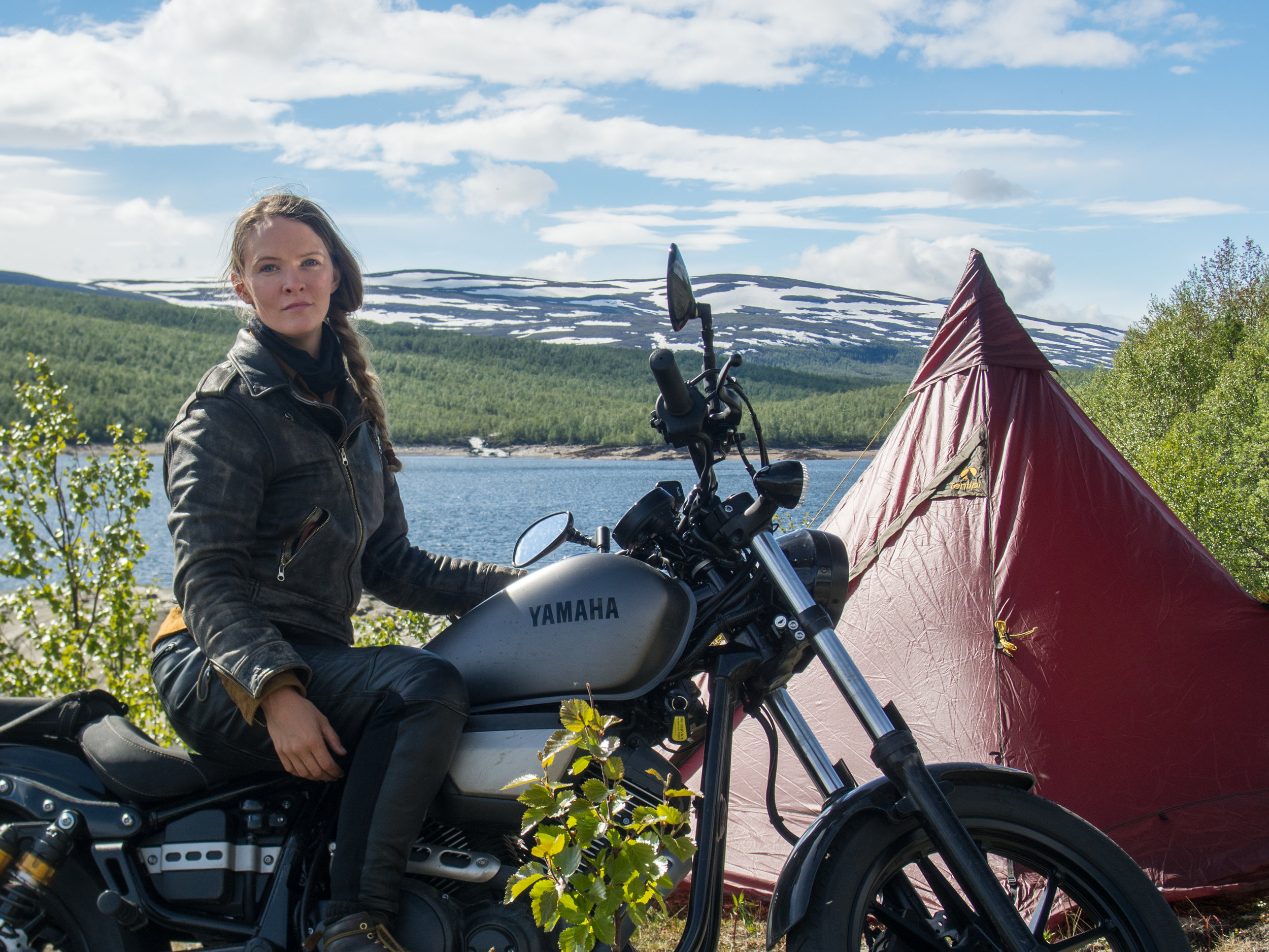 Stopping at an overlook on the way to Norway. My Yamaha Bolt 950 was generously supplied by  Tibro Mc Service  and my camping gear by Swedish Company  Tentipi Tents