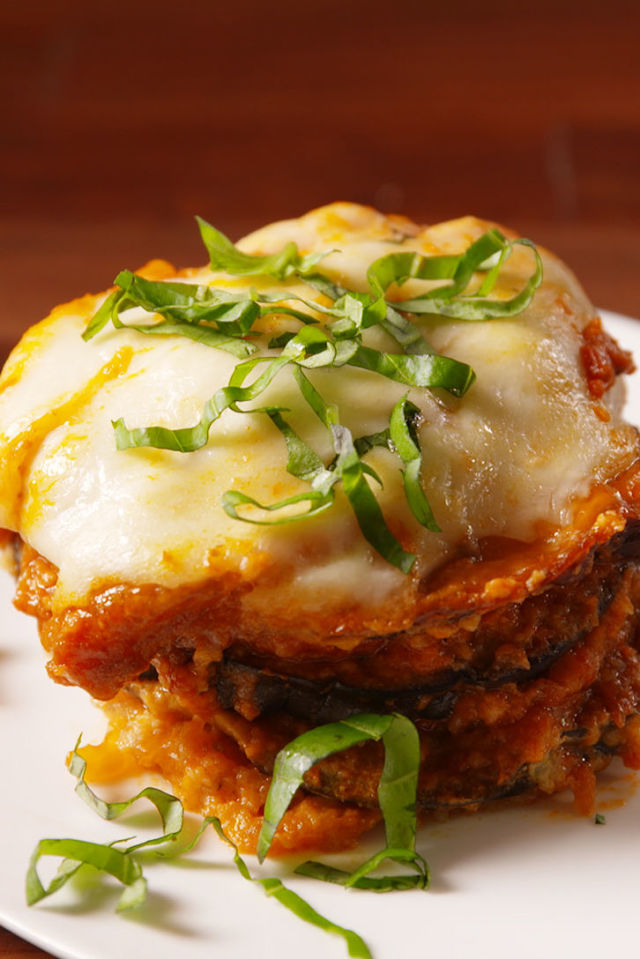 Eggplant Parmesan  - This slow cooker recipe was admittedly a risk, but it ended up being a huge hit. It looked enough like lasagna to entice my son and my husband didn't complain about the tomato sauce. Remember that roasted chicken? Add that for the meat eaters and a salad on the side, and done! Tip: Slow cooker recipes can be lifesavers, but note the cooking time to plan when it needs to go in.