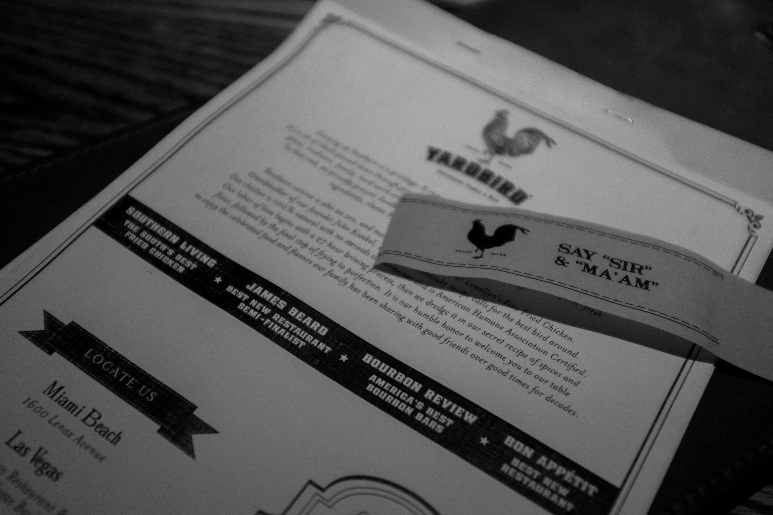 Yardbird's Menu's Front Page and Napkin Ring