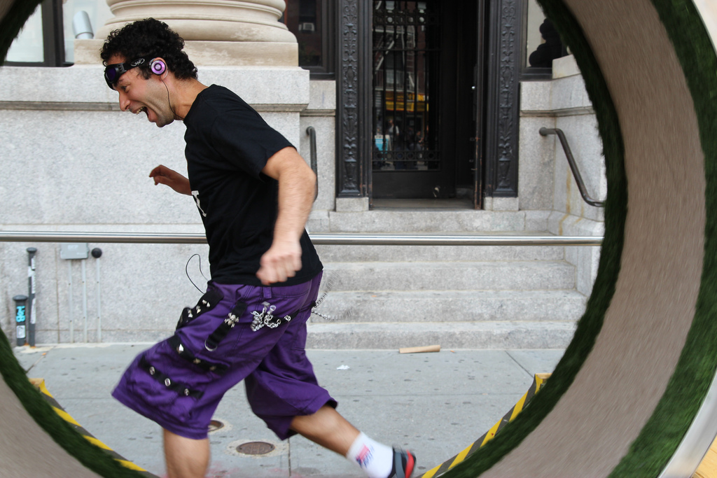 running in a human hamster wheel