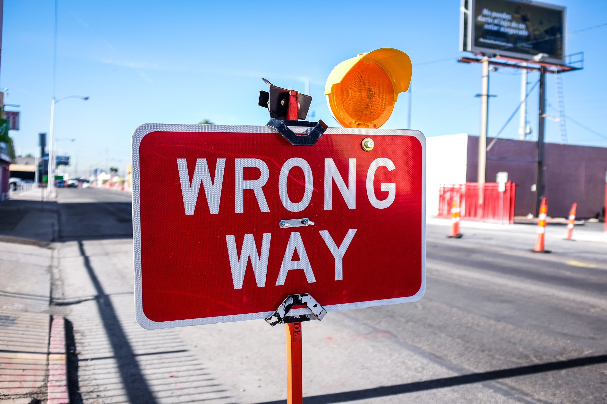Wrong way sign in West Los Angeles