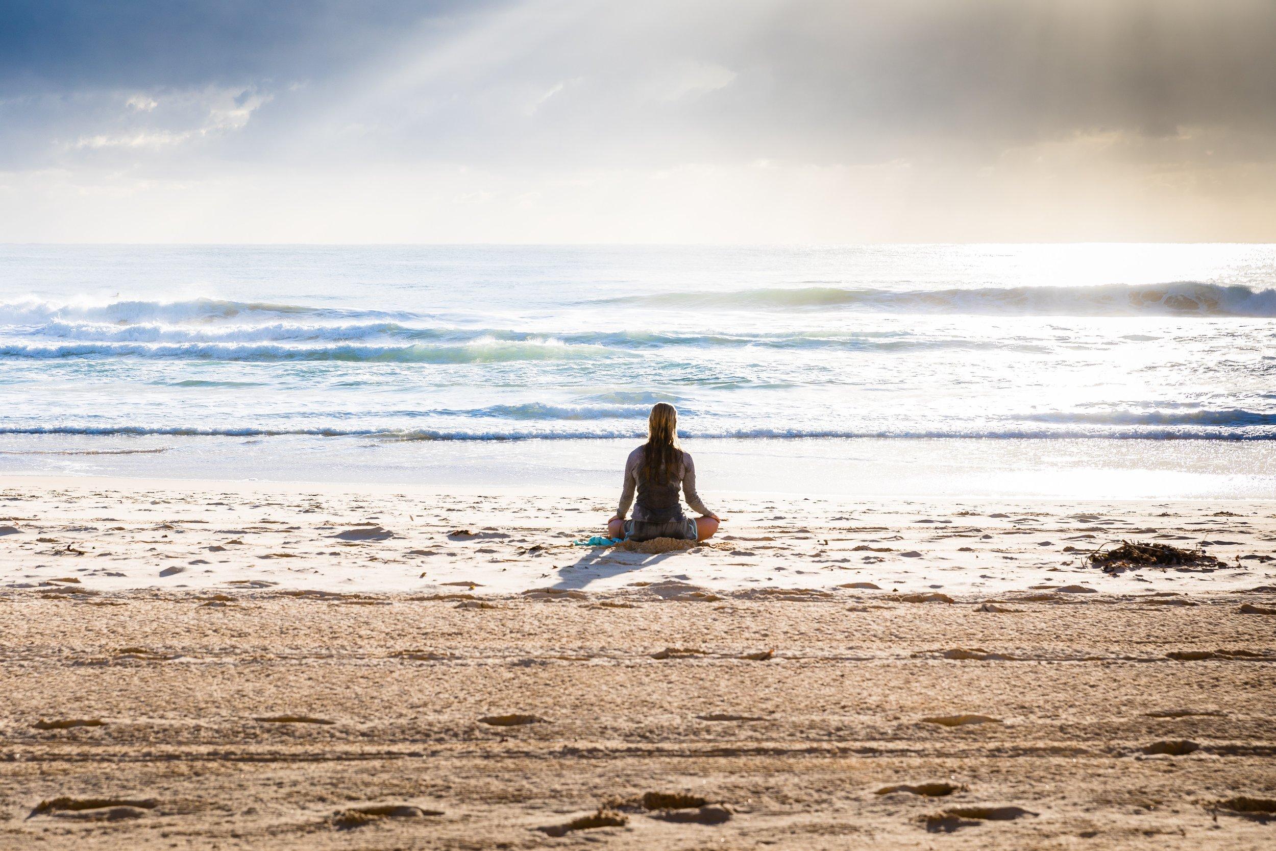 meditating on Venice Beach