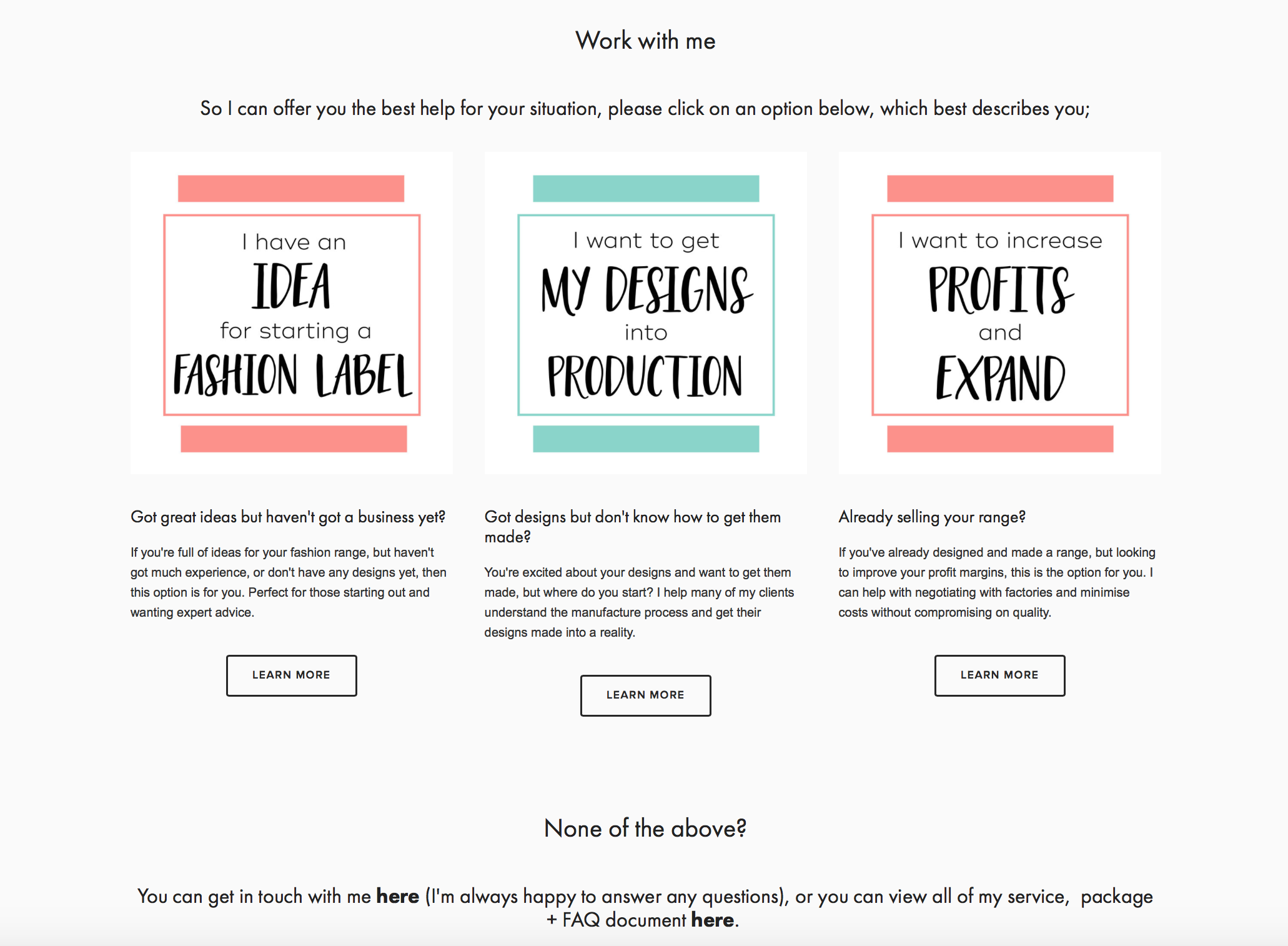 Packages for small + startup fashion labels