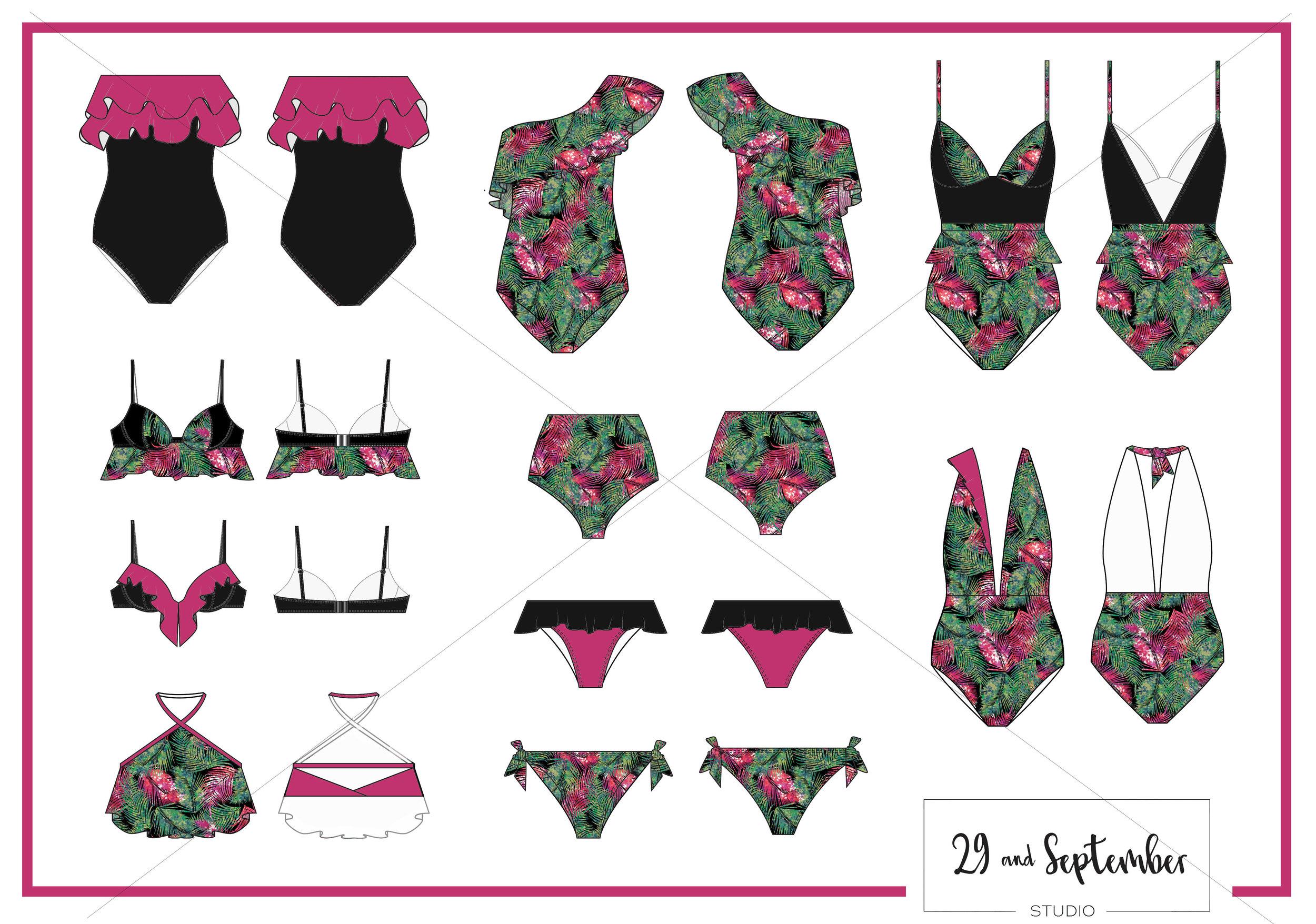 Swimwear designs, technical drawings + print designs by 29andSeptember Studio