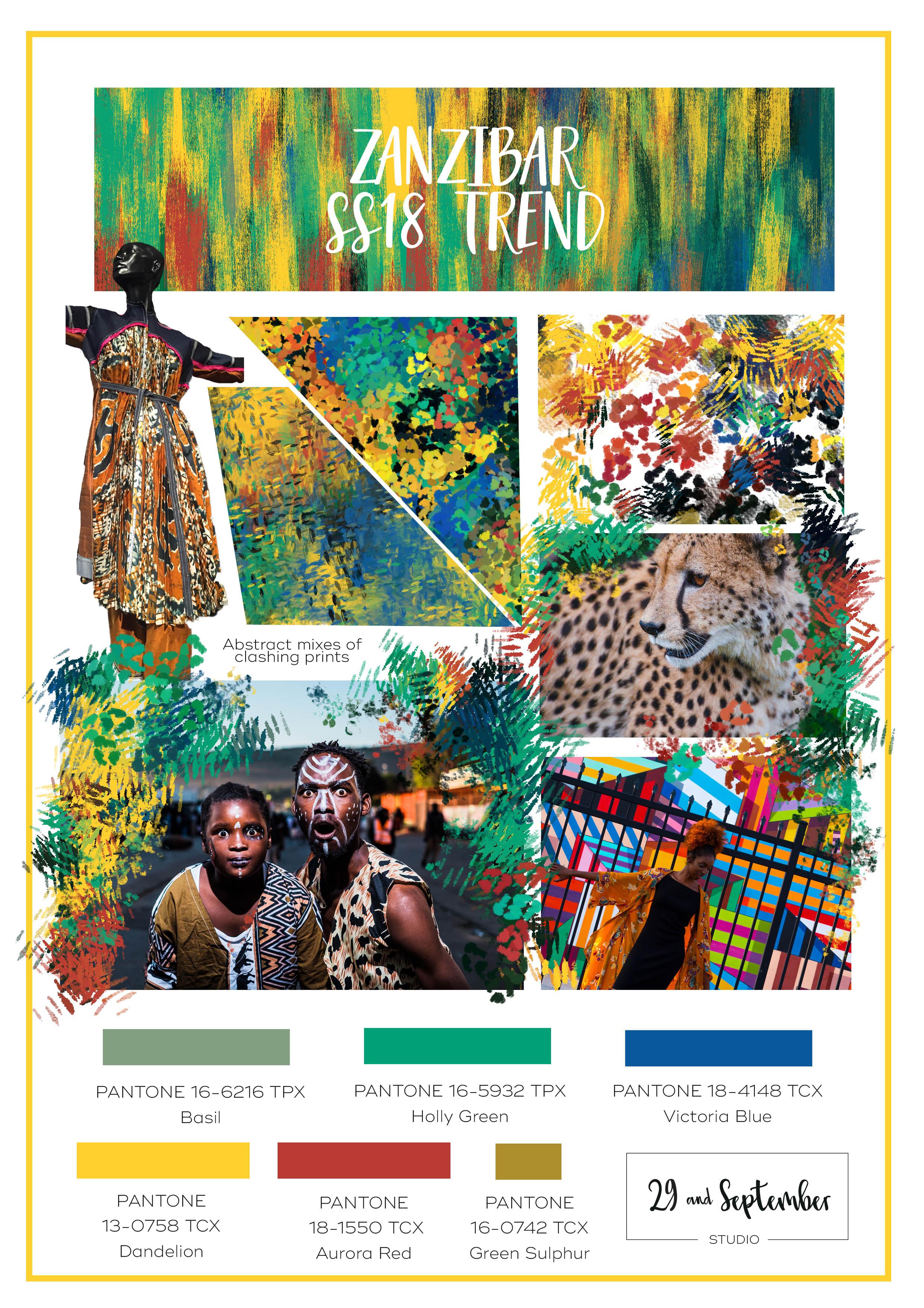 S/S 2018 trends; Zanzibar free trend board information from 29andSeptember Studio