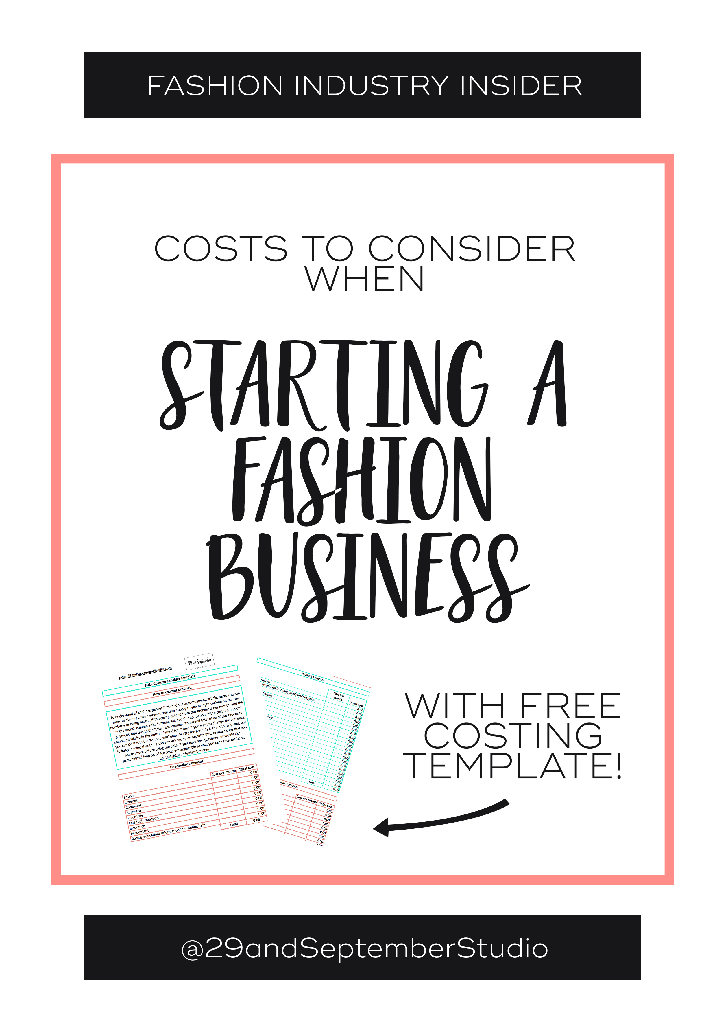 Costs to consider when starting a fashion business | Free download for fashion students, designers, fashion businesses, startups and new brands to help them understand the fashion industry and work with manufacturers to get their clothes produced.