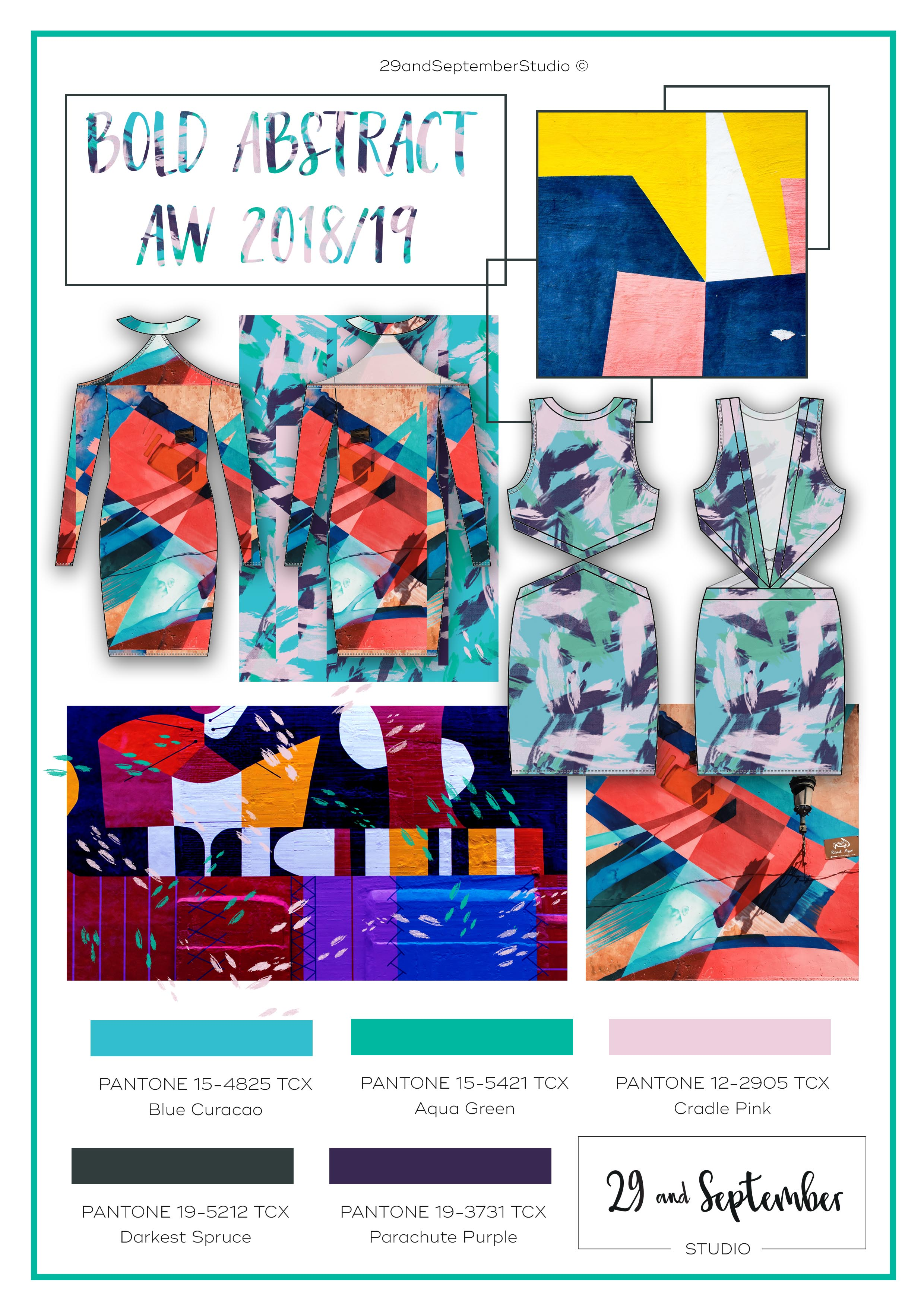 F/W 2018/19 fashion trends; Bold Abstract | Woman's fashion inspiration | technical drawings for apparel by 29andSeptember Studio | Free fashion trend information | WGSN