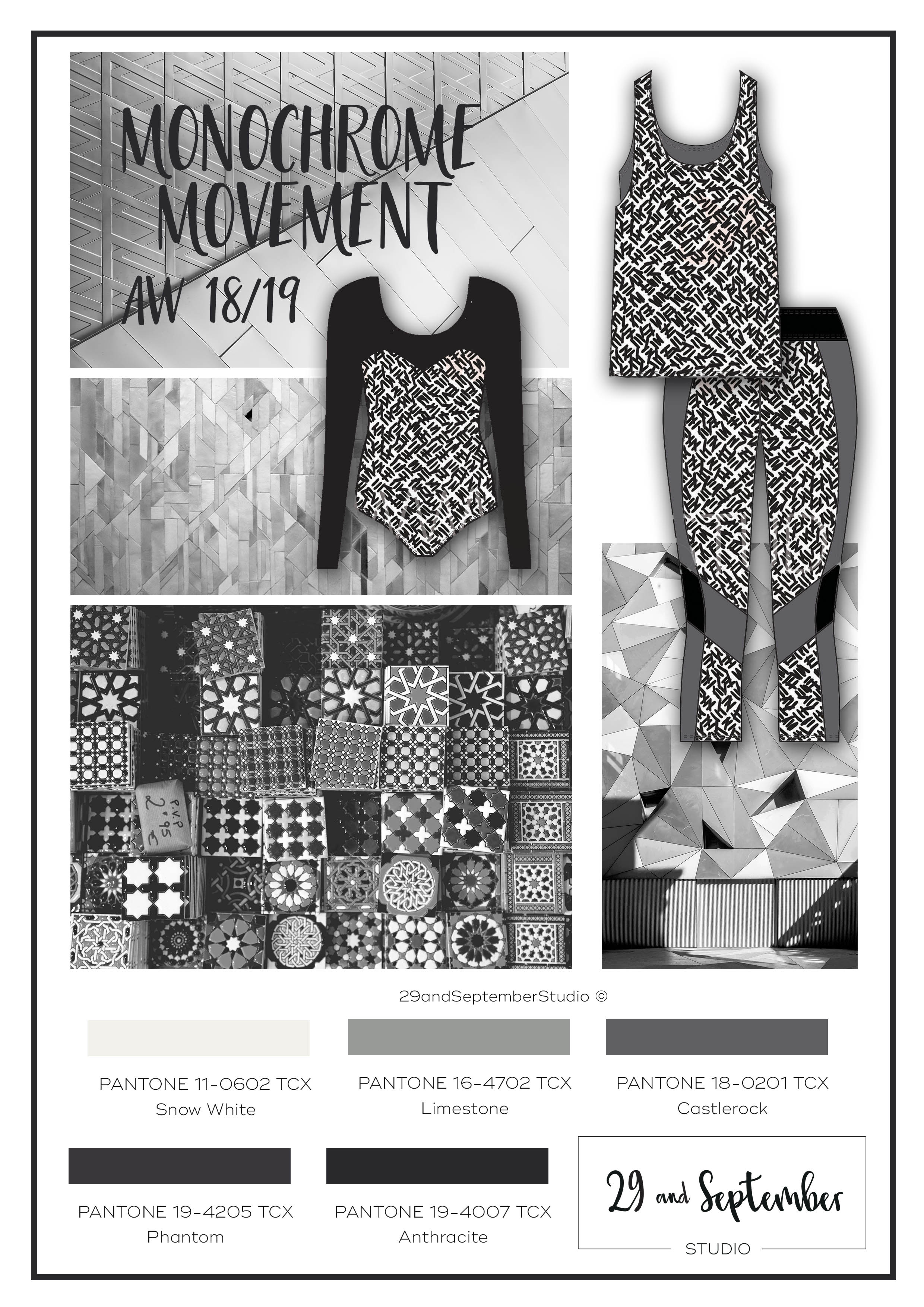 F/W 2018/19 activewear trends; Monochrome Movement | Woman's fashion inspiration | technical drawings for apparel by 29andSeptember Studio | Free fashion trend information | WGSN