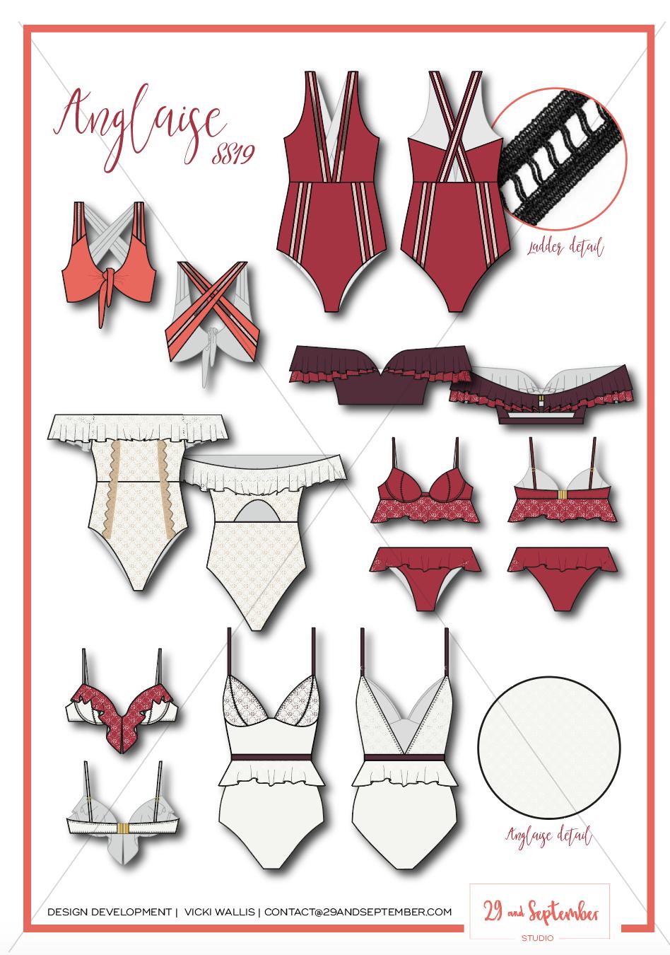 Swimwear inspiration | technical drawings for swimwear