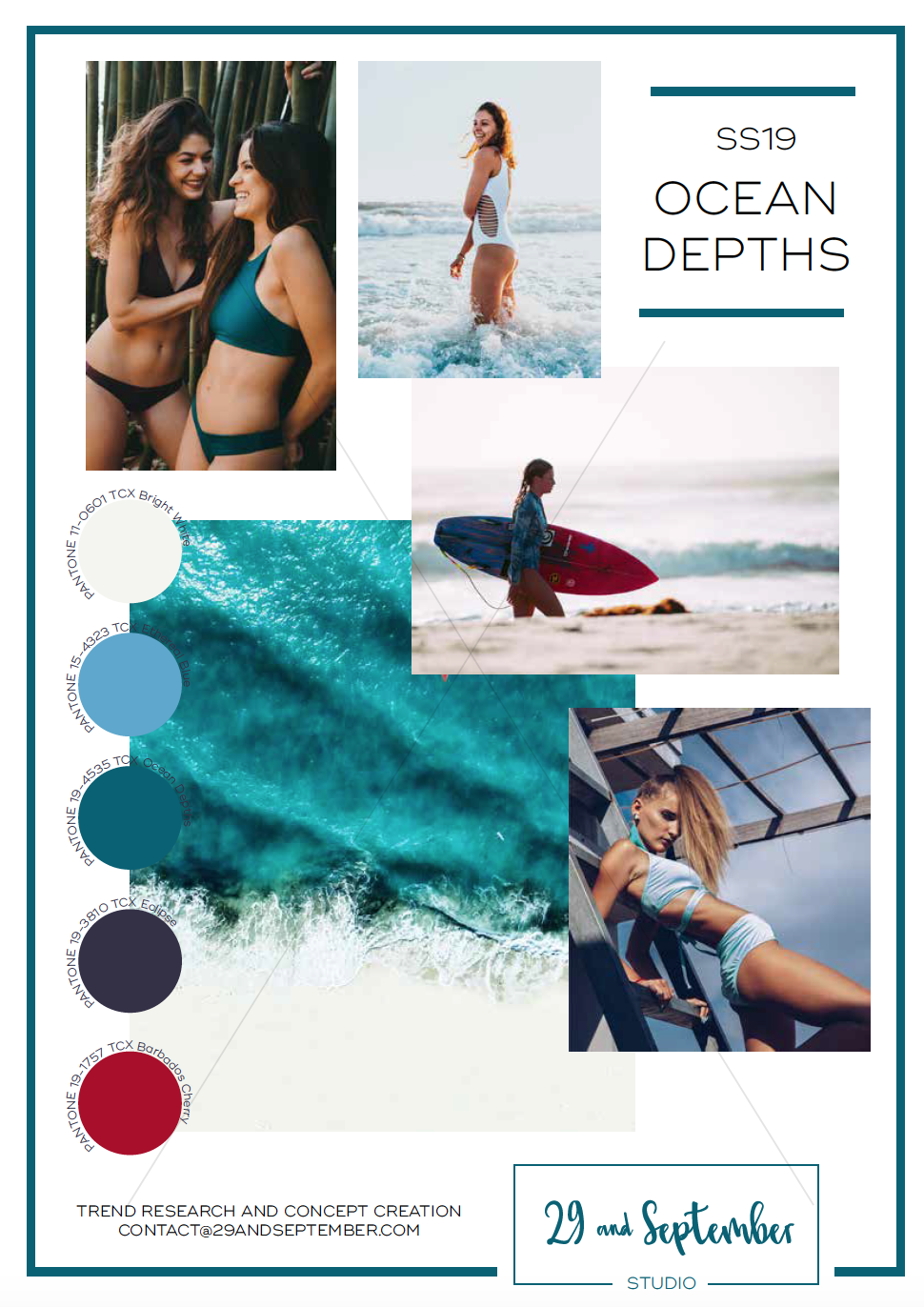 SS19 Women's Swimwear Trend Ocean Depths | Swim technical drawings for apparel by 29andSeptember Studio | Free fashion trend information