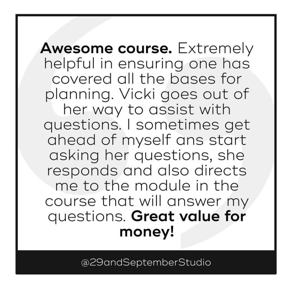 29andSeptember Studio course feedback