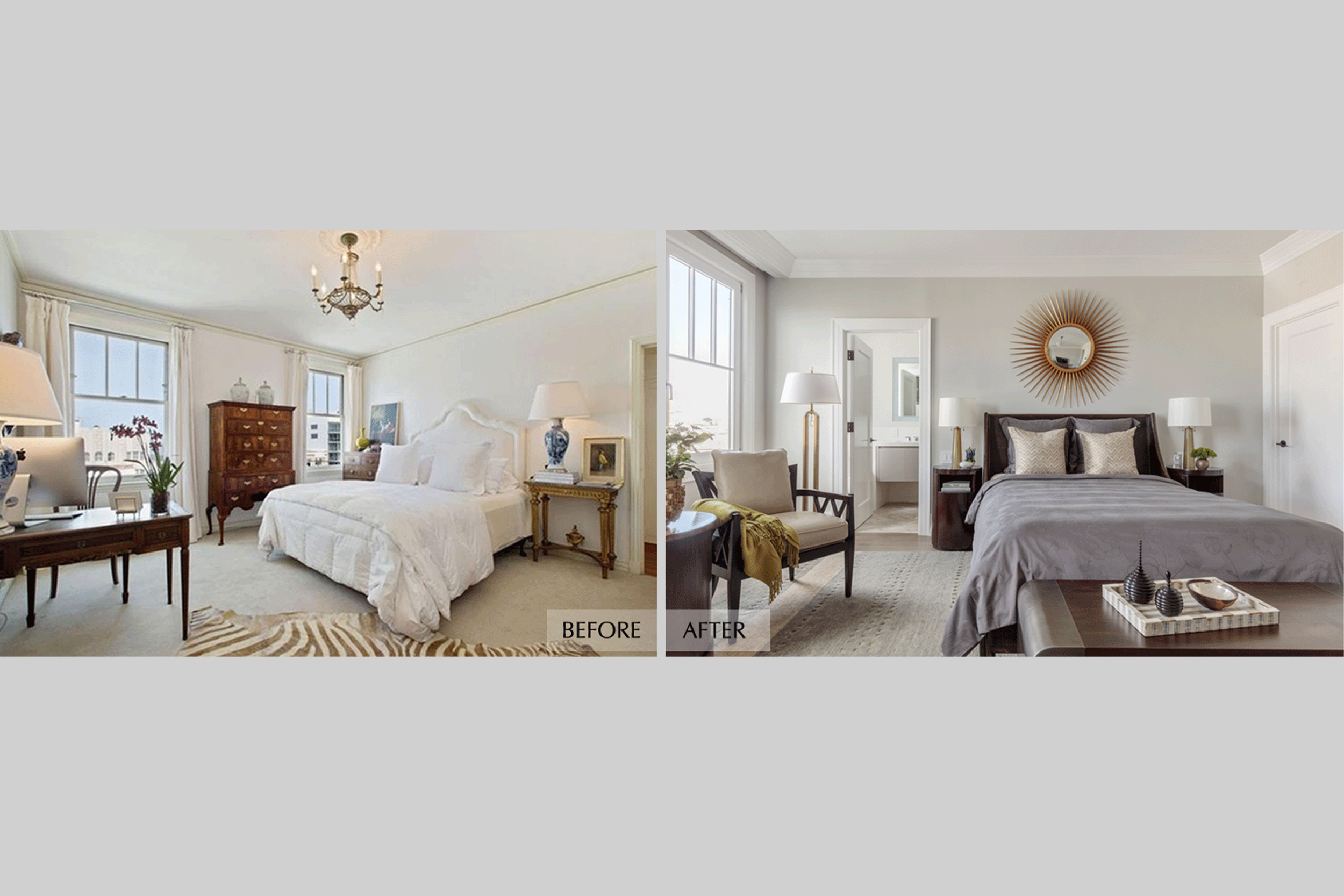 DESIGN415 | San Francisco Pacific Heights Before and After Master Bedroom Interior Design