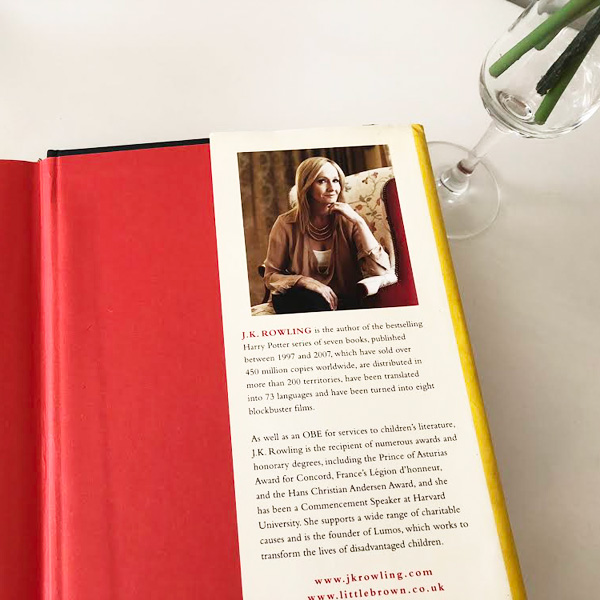 JK Rowling bio on inside cover