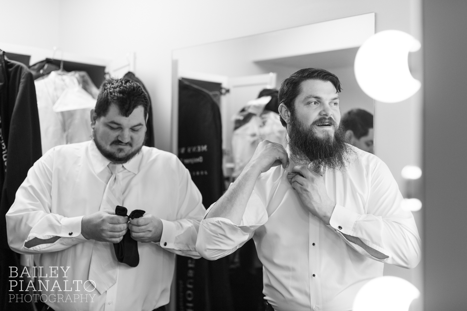 Guys Getting Ready at Purple & Gray Down-to-Earth Spring Wedding  | Uptown Theater | Kansas City, MO