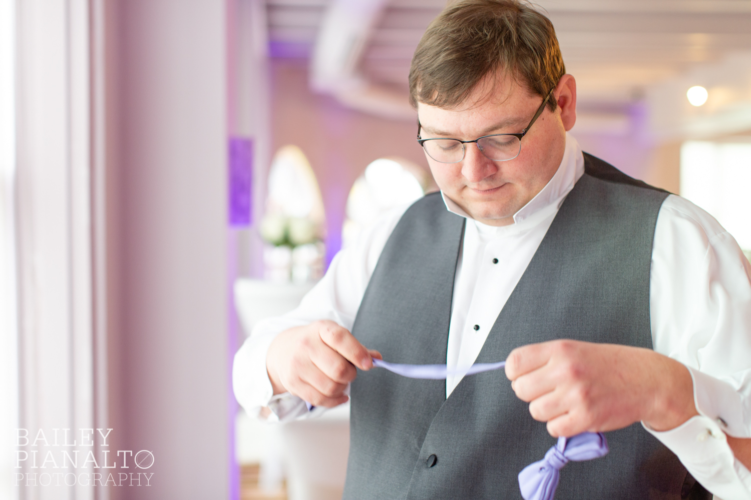Groom Getting Ready at Purple & Gray Down-to-Earth Spring Wedding  | Uptown Theater | Kansas City, MO