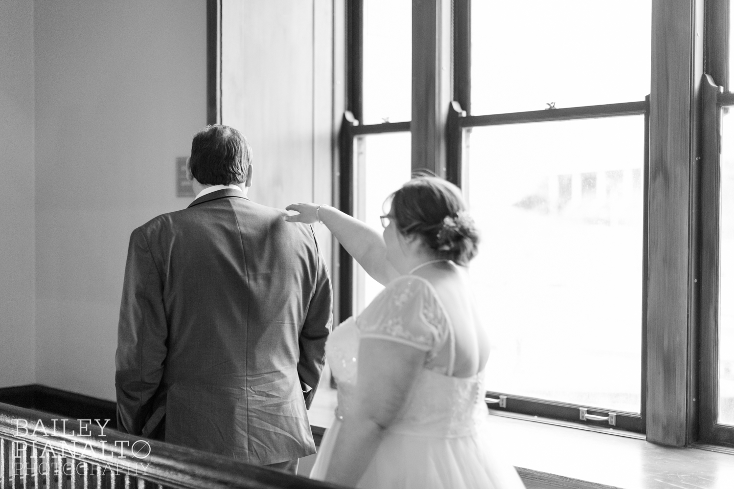 Bride & Groom First Look at Purple & Gray Down-to-Earth Spring Wedding  | Union Station | Kansas City, MO