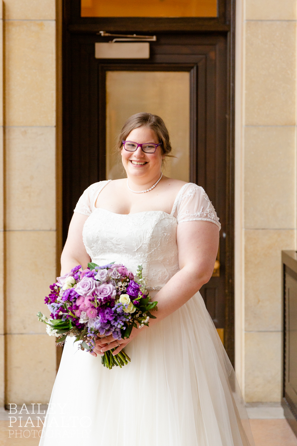 Bride Portraits at Purple & Gray Down-to-Earth Spring Wedding  | Union Station | Kansas City, MO