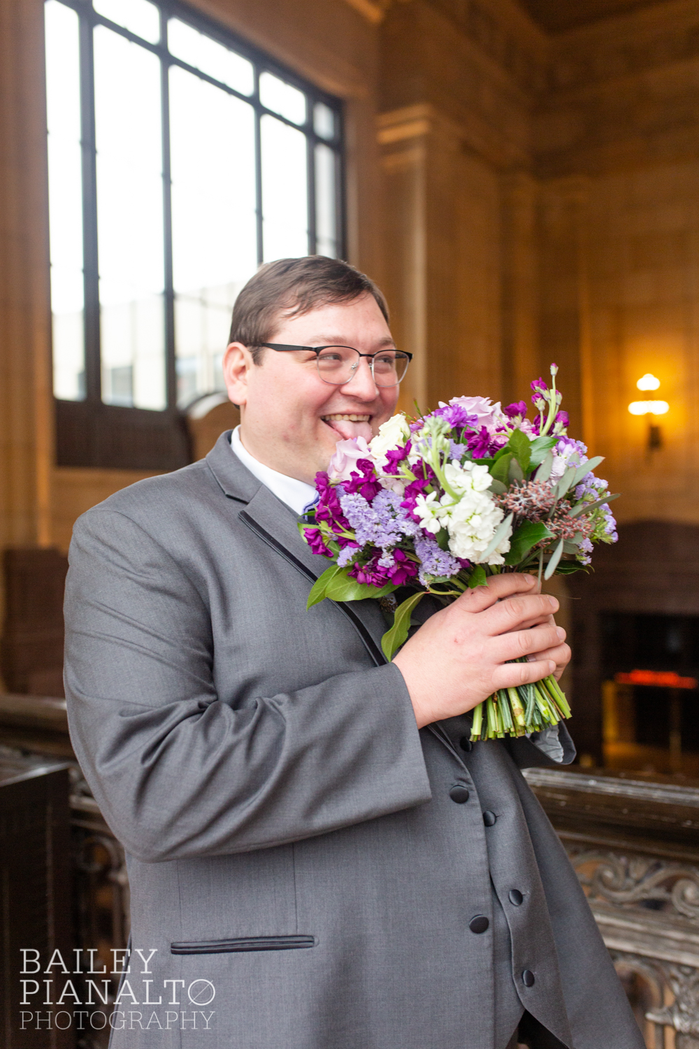 Groom Portraits at Purple & Gray Down-to-Earth Spring Wedding  | Union Station | Kansas City, MO