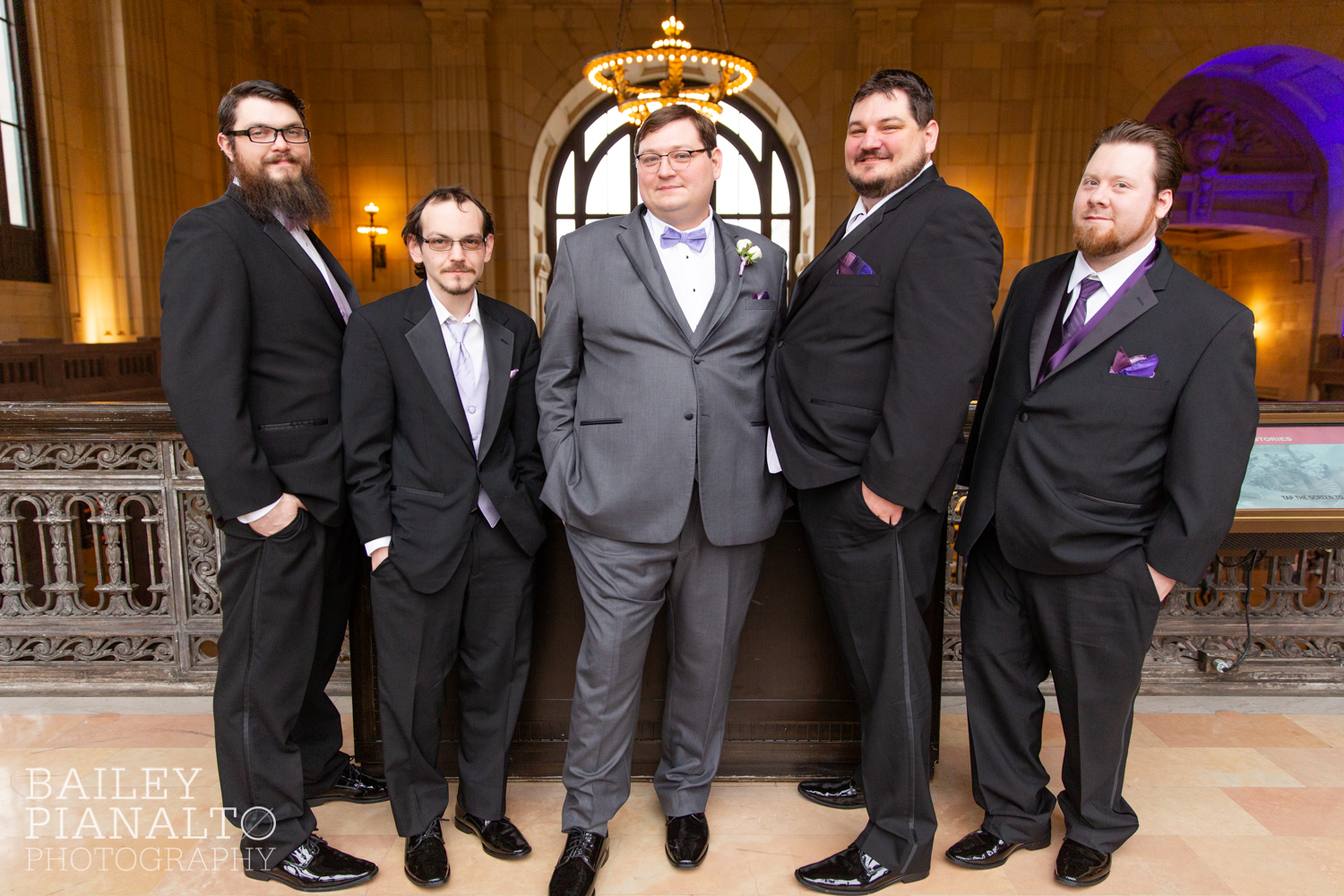 Groomsmen Portraits at Purple & Gray Down-to-Earth Spring Wedding  | Union Station | Kansas City, MO