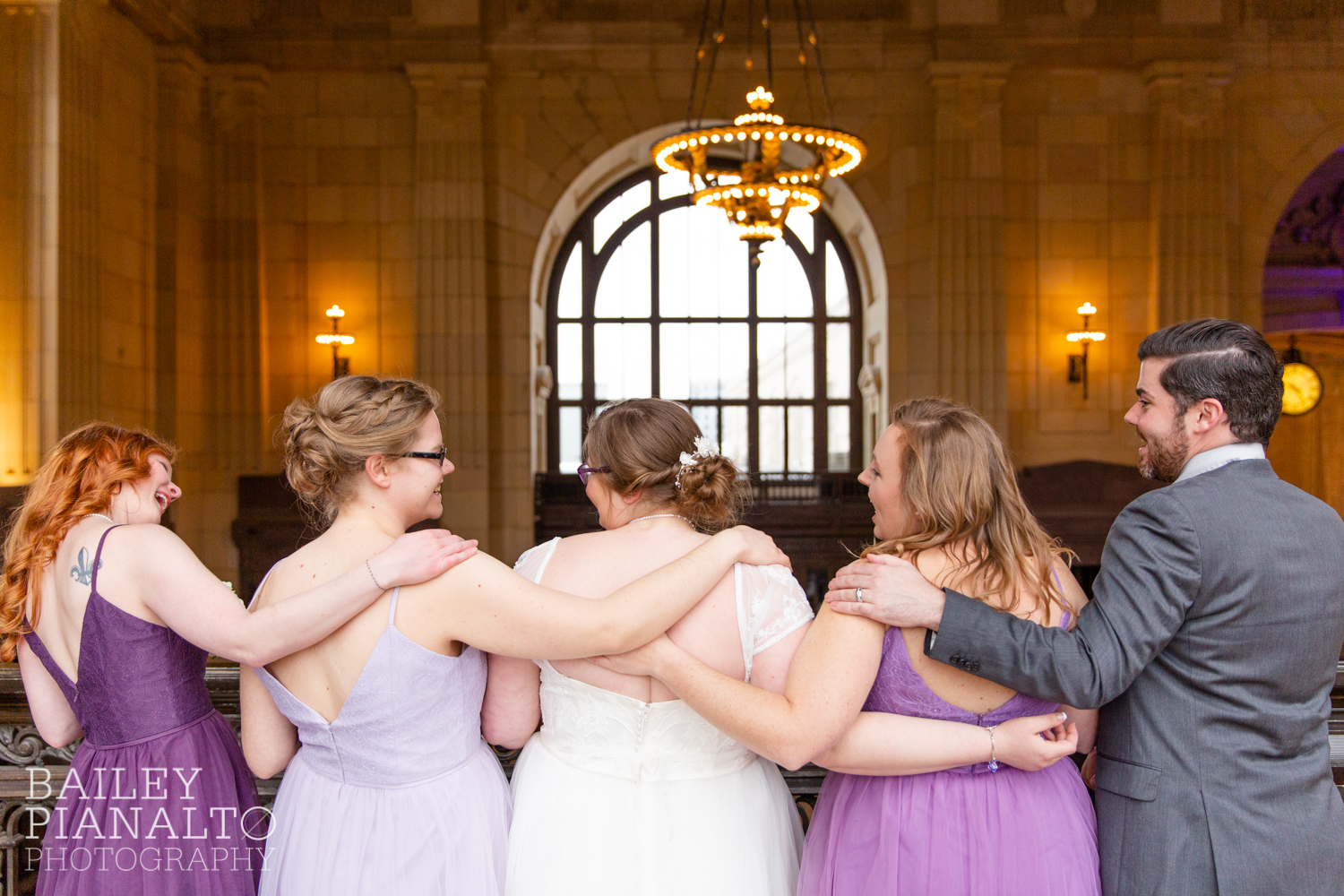 Bridesmaid Portraits at Purple & Gray Down-to-Earth Spring Wedding  | Union Station | Kansas City, MO