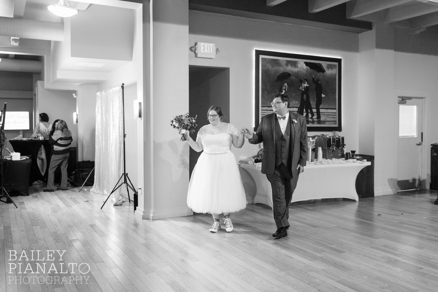 Wedding Reception at Purple & Gray Down-to-Earth Spring Wedding  | Uptown Theater | Kansas City, MO