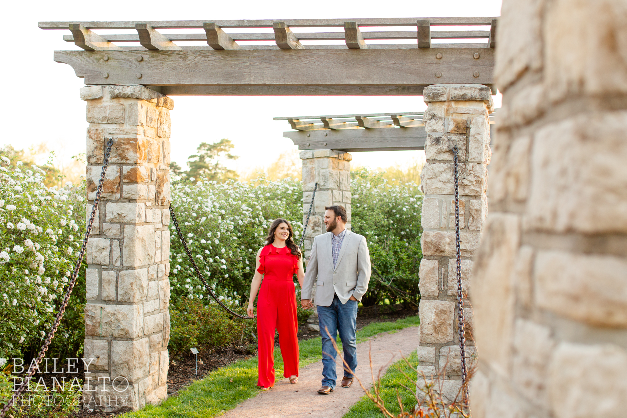 Red, Blue, and Gray Spring Engagement Session Outfit Inspiration at Loose Park | Kansas City, MO