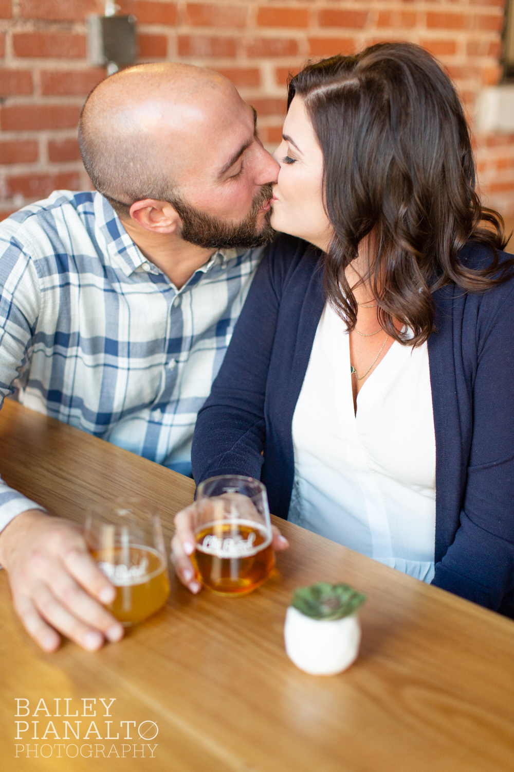 Navy & Cream Casual Spring Downtown Brewery Engagement Session Inspiration | City Barrel | Kansas City, MO