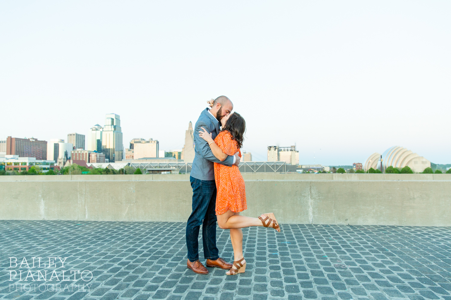 Orange, Pink & Blue Spring Skyline Sunset Engagement Session Inspiration | Kansas City, MO