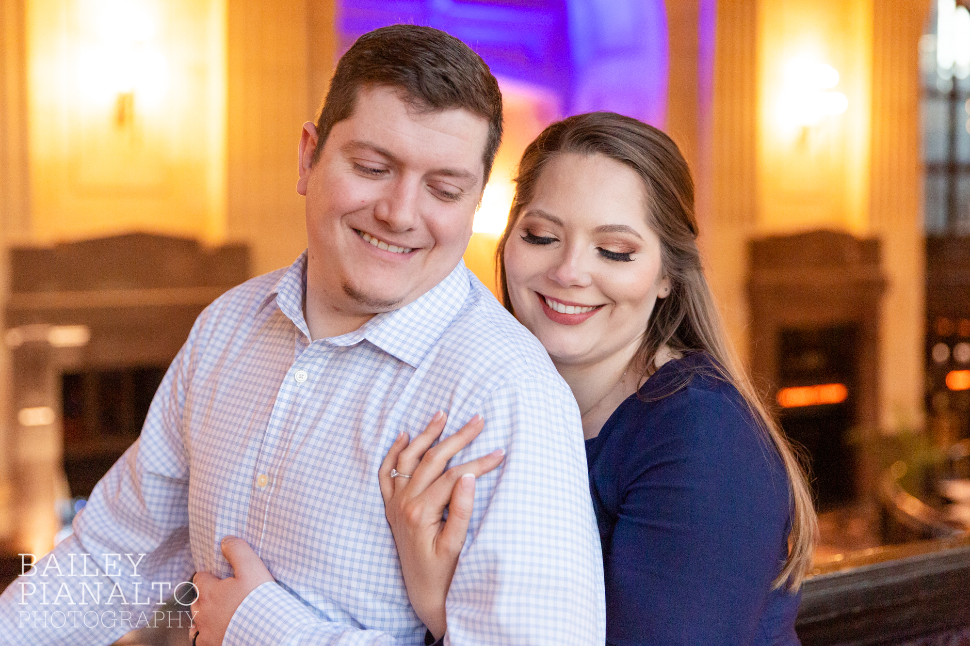 Dressy Navy & Cream Indoor Spring Date Night Engagement Session Inspiration | Union Station, Kansas City, MO