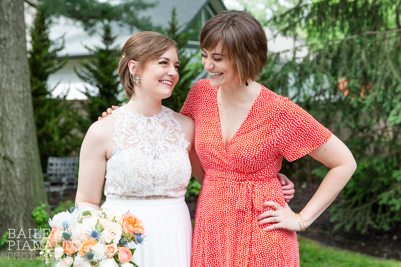 Coral, navy & cream intimate backyard garden spring wedding inspiration with BHLDN and Fiore Floral Studio | Kansas City, Missouri